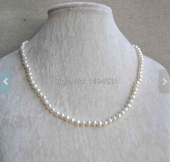 Ivory Pearl Necklace , 5-6MM 18 Inches Genuine Freshwater Pearl Chokers Necklace,Wedding Party Gift Jewelry, Handmade Jewelry.