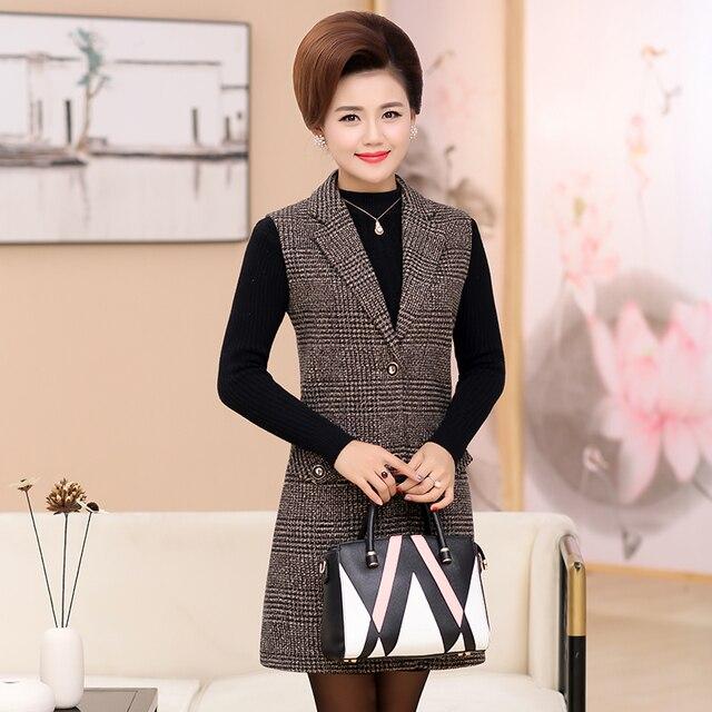 Plus Size 5XL Elegant Fashion Mom's Vest Long Red Women's Sleeveless Jacket Cotton Women's Vest Feminine Coat Long Waistcoat 3