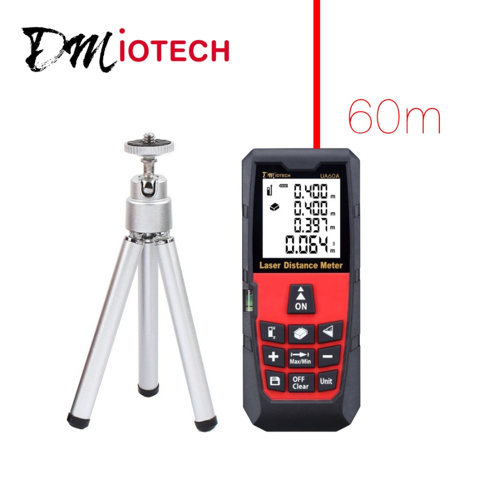 DMiotech 196ft 60m Digital Laser Distance Meter Measurer Rangefinder Red with Tripod  dmiotech 262ft 80m mini handheld digital laser distance meter rangefinder red with tripod