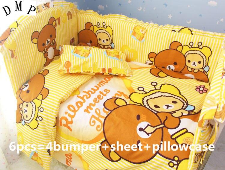 Discount! 6/7pcs Crib Baby Bedding Set 100%Cotton,Baby Quilt Cover Unpick,Set de Cuna de Bebe ,120*60/120*70cm discount 6 7pcs lion baby boy crib sets baby bedding set crib quilt cover 120 60 120 70cm