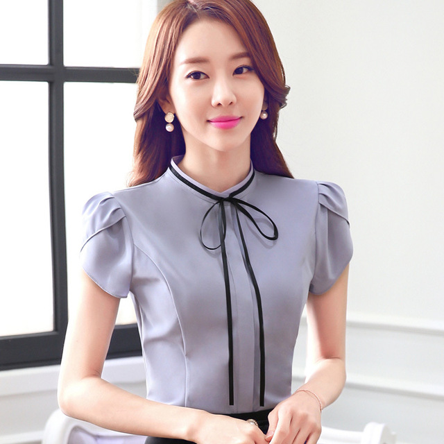d52f7a8f905 4XL Ladies Office Shirt 2016 Formal Tee Shirt Femme Summer New Korean  Fashion Butterfly Sleeve Solid O-neck Bow Plus Size Tops