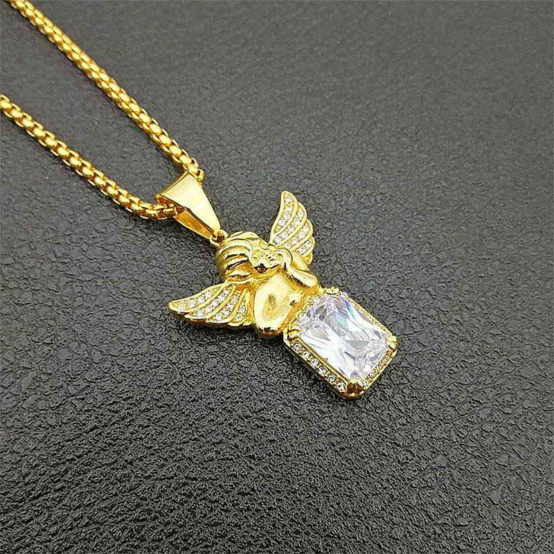 Rhinestones Angel Hip Hop Pave Rhinestone Praying Angel Pendants /& Necklaces Titanium Steel Gold Chain Men Big Crystal Jewelry Brother Lucky Gifts