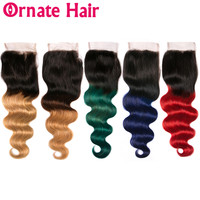 Ombre Colored Body Wave Human Hair Lace Closure 4x4 Brazilian Remy Hair Closure Two Tone Dark Roots Blue Green Red Blonde Hair