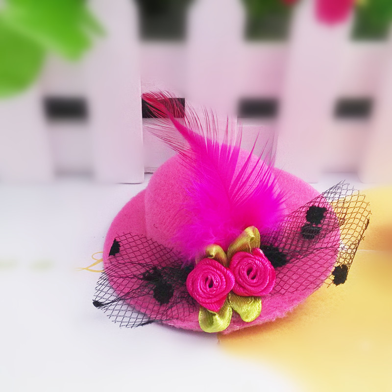 New Fashion Ribbon Flower Cute 5cm Party Cap Hairpins Festival Hat Hair Clip With Fur Children Hair Accessories Baby Hair Clip Complete In Specifications Apparel Accessories Girl's Hair Accessories
