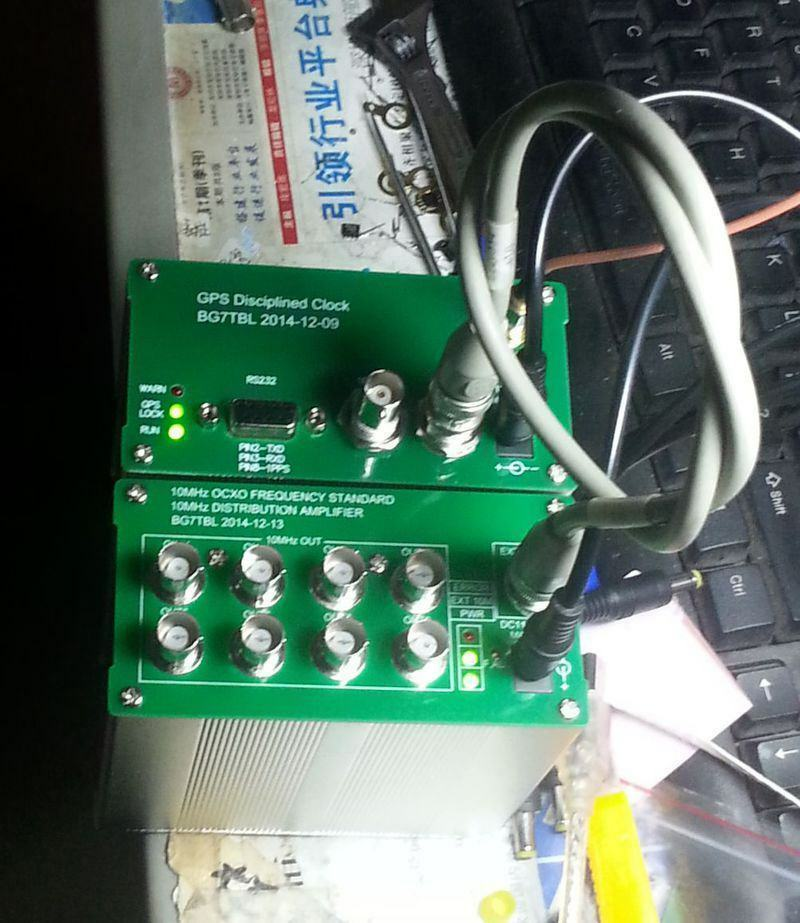 Made By Bg7tbl 10MHZ SINE WAVE GPS DISCiPLINED CLOCK GPSDO + Distribution Amplifier OCXO With Power Supply & Antenna