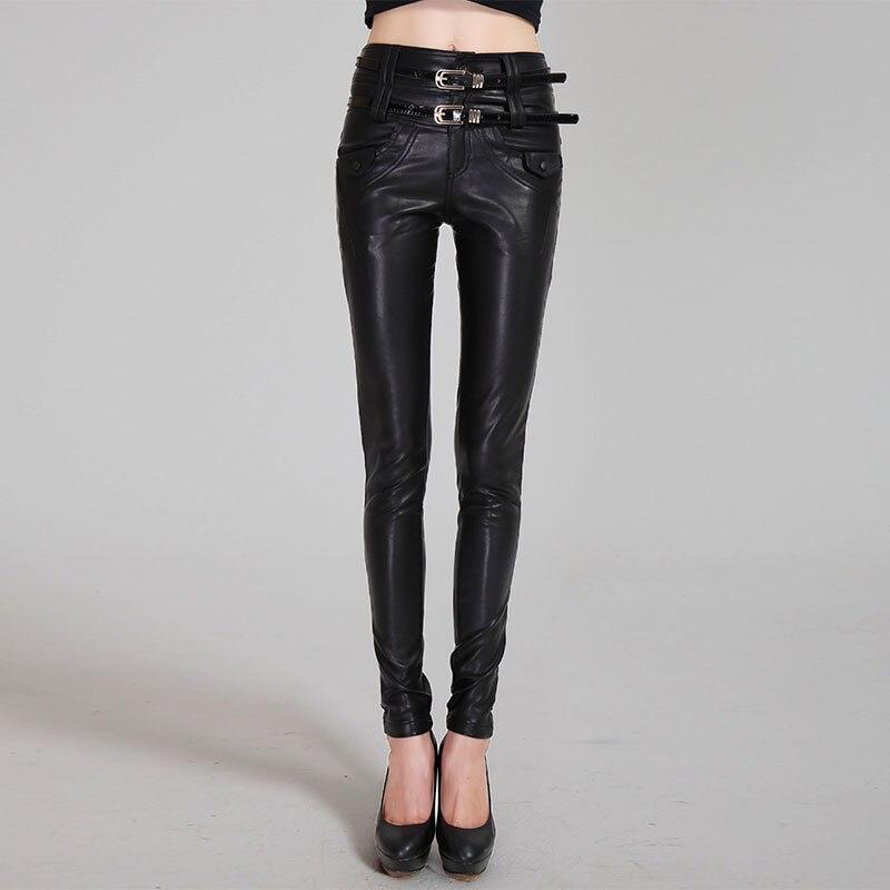 Haute qualité PU cuir pantalon femmes serré taille haute Faux cuir pantalon femmes Skinny Stretch crayon Pantalons femme
