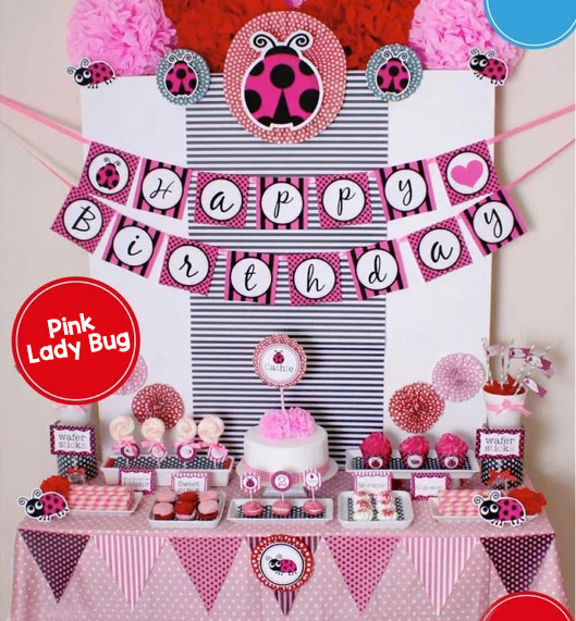 Pink Lady Bug Birthday Party Banner Lady Bug Cupcake Topper Decor Birthday Party Decorations Kids Party Decorations Supplies
