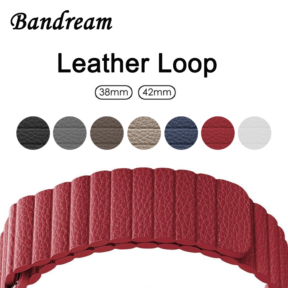 Leather Loop Watchband 1:1 for iWatch Apple Watch 38mm 42mm Series 1 2 3 Band Magnetic Clasp Strap Wrist Belt Bracelet Red Black nylon watchband adapters for iwatch apple watch 38mm 42mm zulu band fabric strap wrist belt bracelet black blue brown green