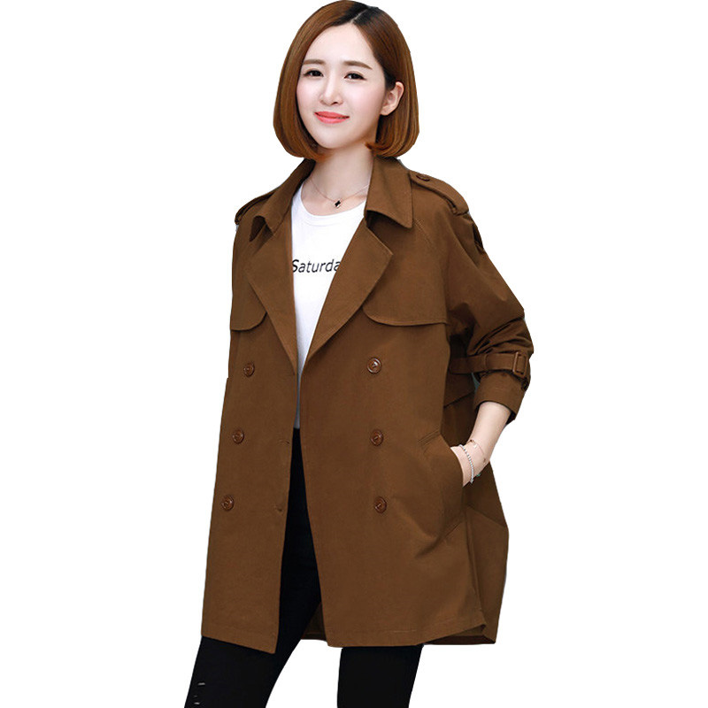 Plus Size S-3XL Women's Trench Coat 2019 New Spring Autumn Female Outcoat Double-Breasted Casual Solid Long Sleeve Windbreaker