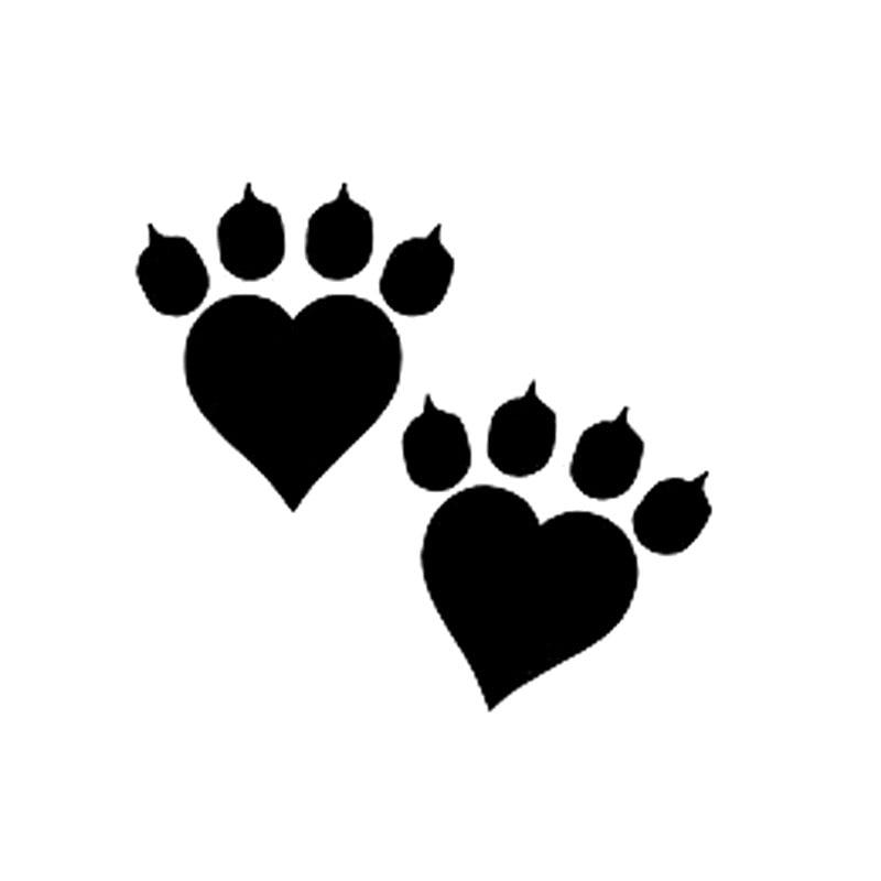 14cm 12 9cm Animal Cat Paw Print Heart Fashion Vinyl Decal
