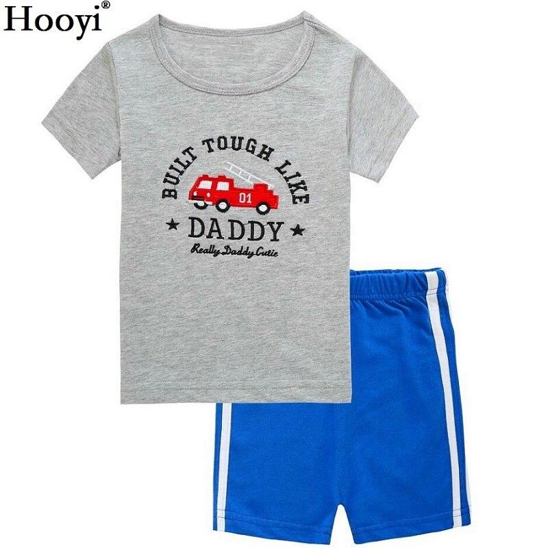 2021 Summer Boys Pajamas Sets Short Sleeve Children's Sleepwear 100% Cotton Kids Pijama Boy Pyjama Red Vehicle nightgown bottom 6