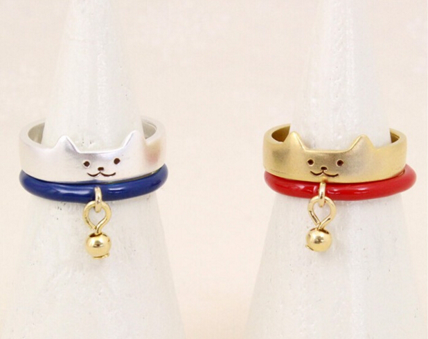 Timlee R147 Free shipping Cute Plutus Cat Small finger Rings the Tail Ring,2pcs/