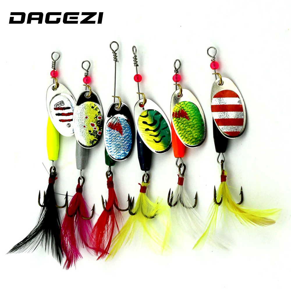 цены  DAGEZI 6pcs Spinner Bait Spoon  Metal Lure with feather Carp Fishing Lure Spinner Hard Lure Copper Isca Artificial Pesca