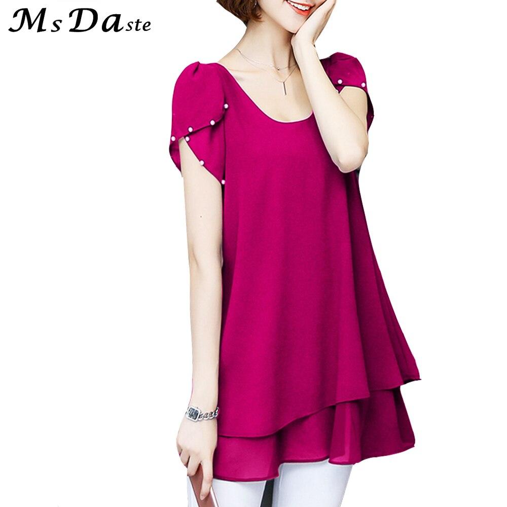 Chiffon Blouses For Women Plus Size Shirts Summer Womens -8364