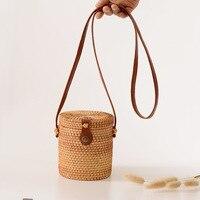 Handmade Bag Women barrel shape Rattan Straw Bag Lady Square Buckle Straw Female Crossbodys Beach Rattan Bags