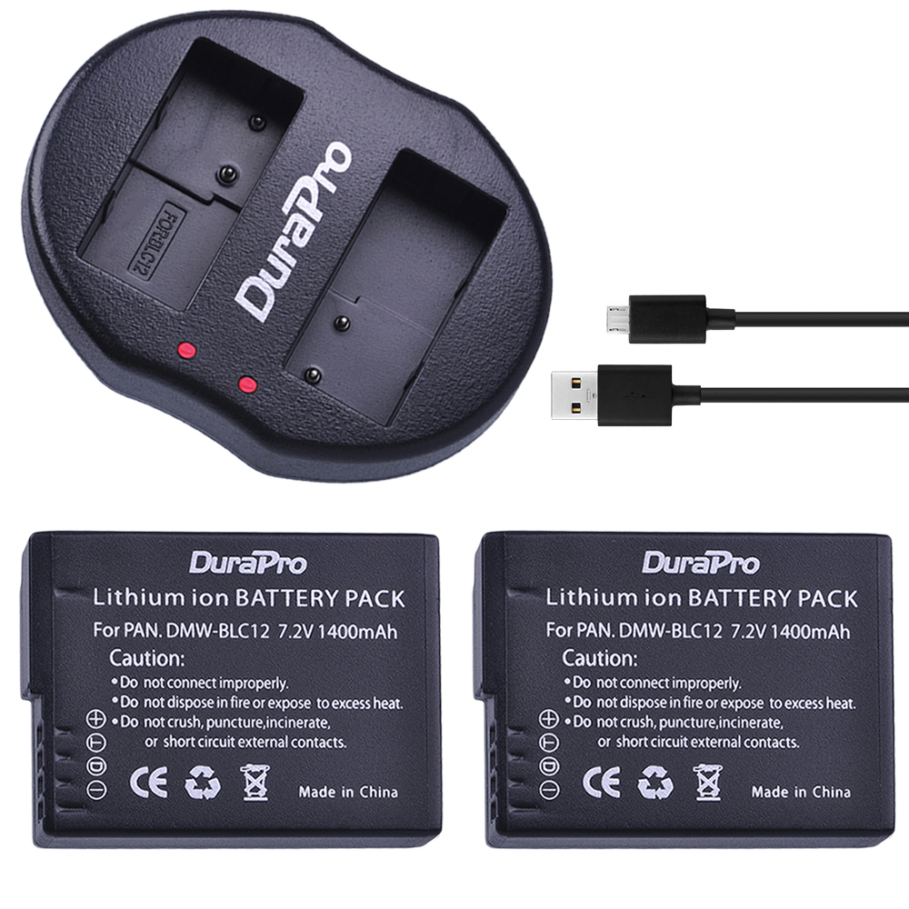 2 piezas DMW-BLC12 BLC12PP BLC12E BLC12 Cámara batería + cargador Dual USB para Panasonic Lumix FZ1000... FZ200... FZ300... G5... G6... G7... GH2... DMC-GX8