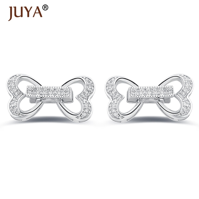 20 11mm micro pave CZ rhinestone Heart Clasps connector for DIY pearls  bracelets necklaces components 9b59528694fc