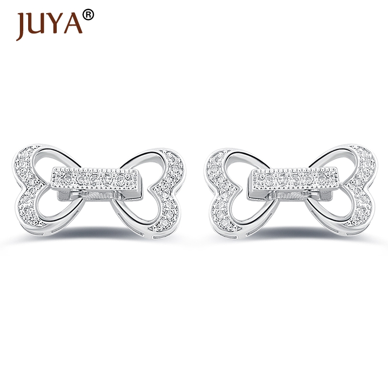 20*11mm micro pave CZ rhinestone Heart Clasps connector for DIY pearls bracelets necklaces components ACCESSORIES jewelry making