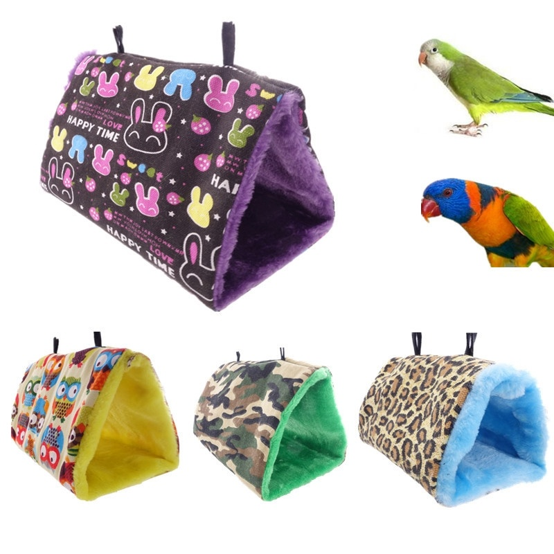 Soft Plush Snuggle Hanging Cave Home Parrot Swing Toy Cage Hammock Pet Bird Bunk Bed CRYWW9