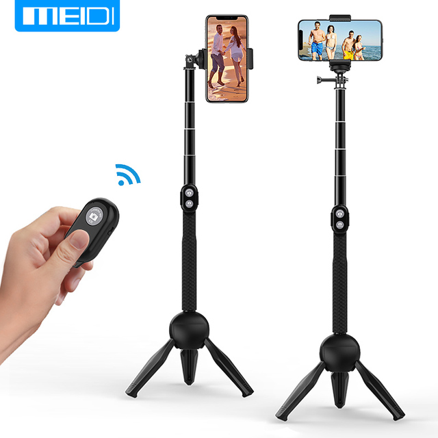 US $15 15 44% OFF|MEIDI Cell Phone Holder Bluetooth Selfie Stick Extendable  Wireless with Tripod Stand Remote Control for iPhone Android Cameras-in