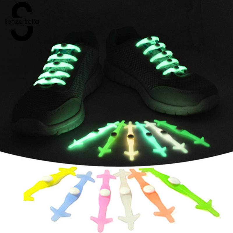 Senza Fretta 12PCS/Set Shoelaces Glow in the Dark Luminous Shoe-laces Women Men Silicone Shoe Lace Lazy No Tie Shoestrings Green цена