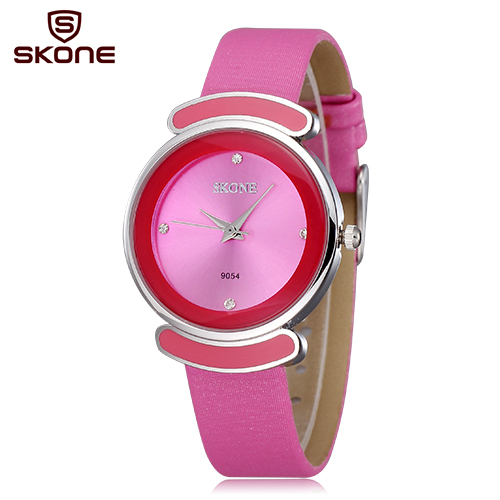 Relogio feminino SKONE Brand Crystal Rhinestone Fashion Watches Women Leather Straps Casual Watch Clock Hours Silver Case Reloj skone relogio 9385