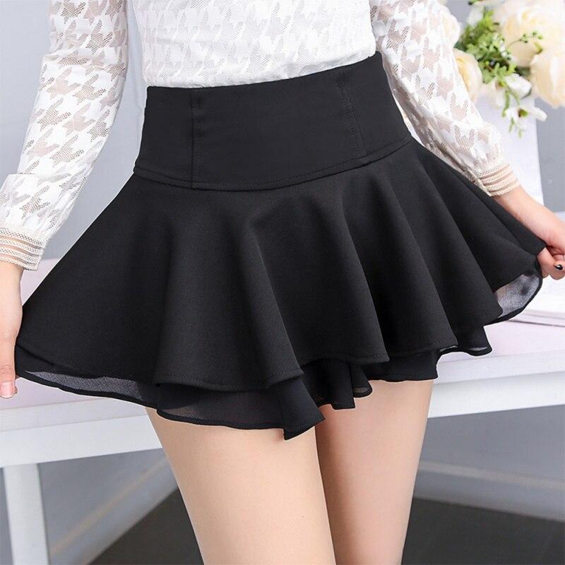 Women Chiffon A-line Skater Mini Skirt Stretchy Waist Ruffle Pleated Short Skirt
