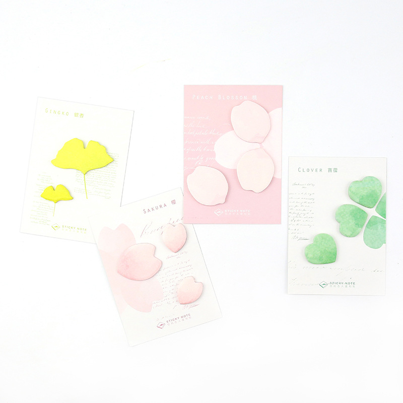 20Pcs/Pack Beauty Flower and Leaf Sakura Alfalfa ginkgo Notes Post it N Times Sticky Memo Pad Stationery Office Supplies M0397