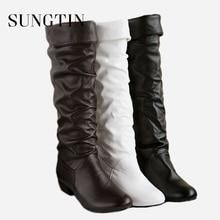 Sungtin 2019 Heißer Verkauf Frauen PU Leder Knie Hohe Stiefel Mode Klassische Flache Stiefel Damen Herbst Winter Schuhe Grundlegende Lange stiefel