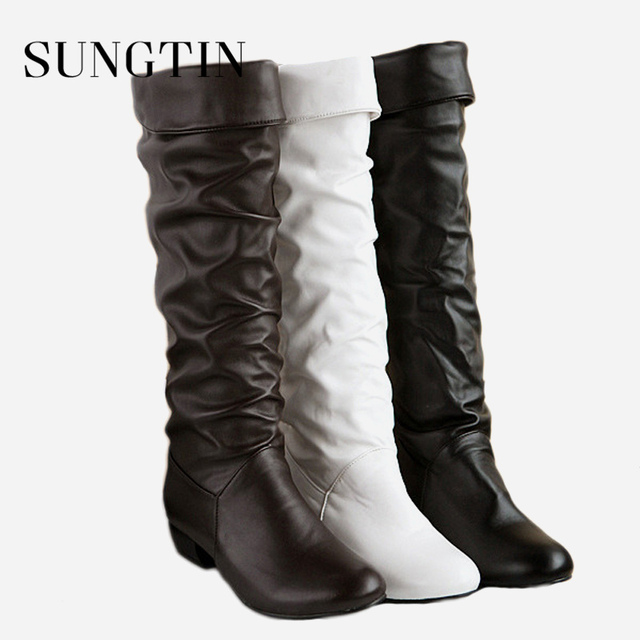 Sungtin 2019 Hot Sale Women PU Leather Knee High Boots Fashion Classic Flat Boots Ladies Autumn Winter Shoes Basic Long Boots