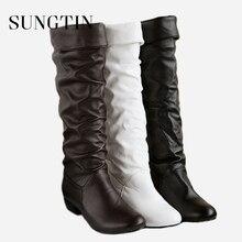 Sungtin 2019 מכירה לוהטת נשים עור מפוצל הברך גבוהה מגפי אופנה קלאסי שטוח מגפי גבירותיי סתיו חורף נעלי בסיסי ארוך מגפיים