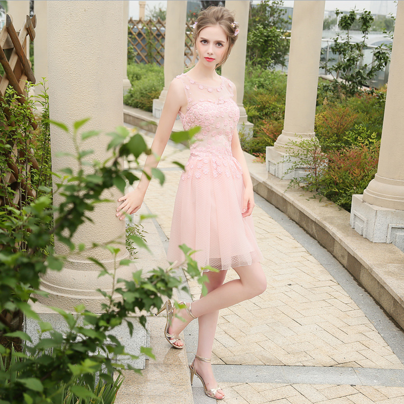 Stock Vestidos De Festa Pink Tulle Sheer Neck Beading Applique Lace A-Line Mini   Bridesmaid     Dress   Bow Sash Short Prom Party Gown