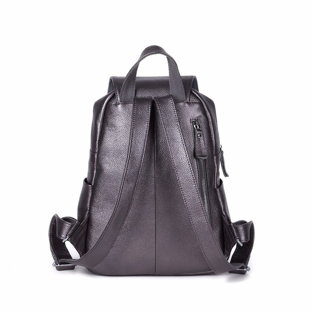 100% Genuine Leather Women White Silver Gray Blue Backpack Top Layer Cow Leather Ladies Fashion Backpacks Travel Party Rucksack 3