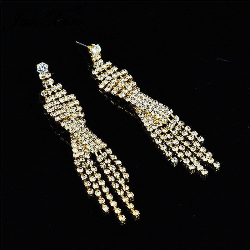 JUNXIN Sexy Long Tassel Earrings For Women White Gold Yellow Gold Color White Crystal Drop Earrings Vintage Female Wedding Gift