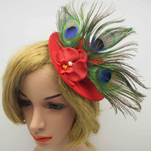 Women Feather Fascination Hat With Flowers