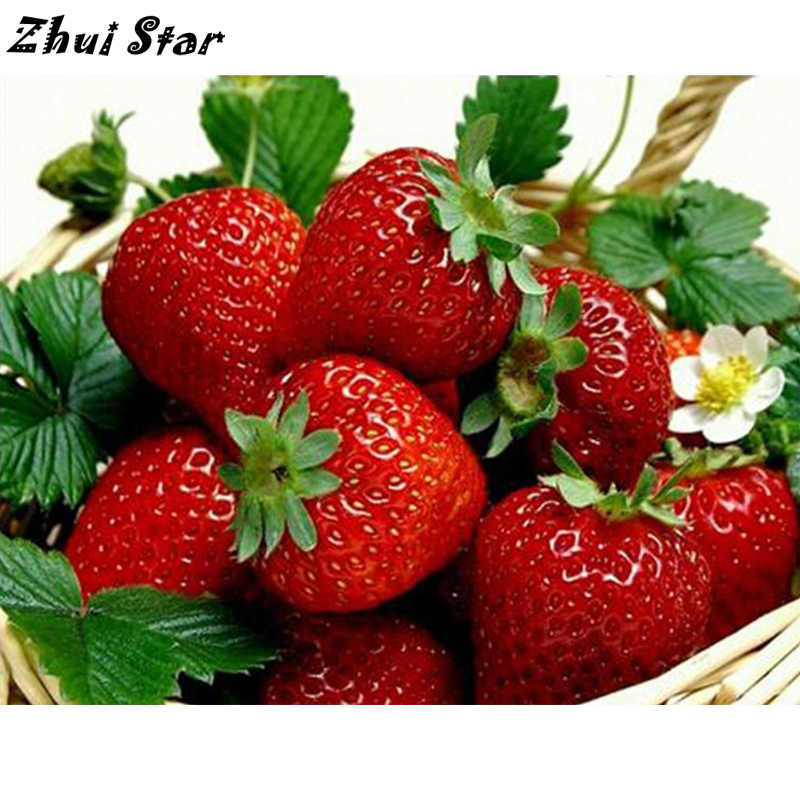 NEW Full Square Diamond 5D DIY Diamond Painting Strawberry Fruit Cross Stitch Rhinestone Mosaic Painting Home Decor FC886