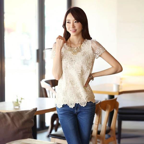099969565 الكورية نمط النساء السيدات الدانتيل قميص المحملة الديكور الشيفون البلوزات  قمم قصيرة الأكمام الجملة