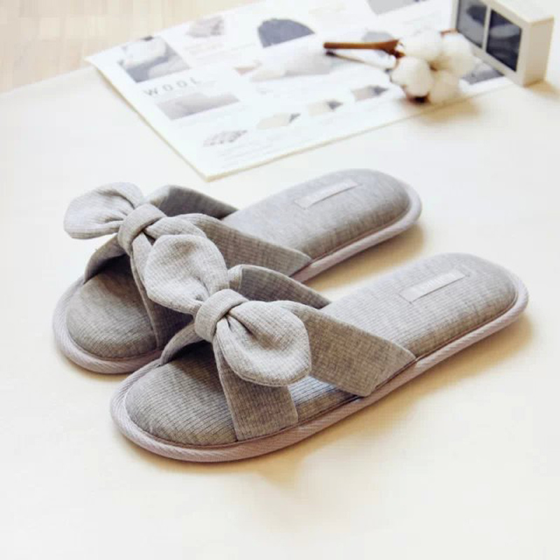 warm home slippers women bedroom winter slippers women cartoon bowtie japanese indoor slippers. Black Bedroom Furniture Sets. Home Design Ideas