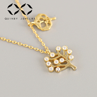 Fashion Tree of Life Necklace 925 Sterling Silver Necklaces for Women White CZ Zircon Gold Color/Long Chain Jewelry kolye Z4