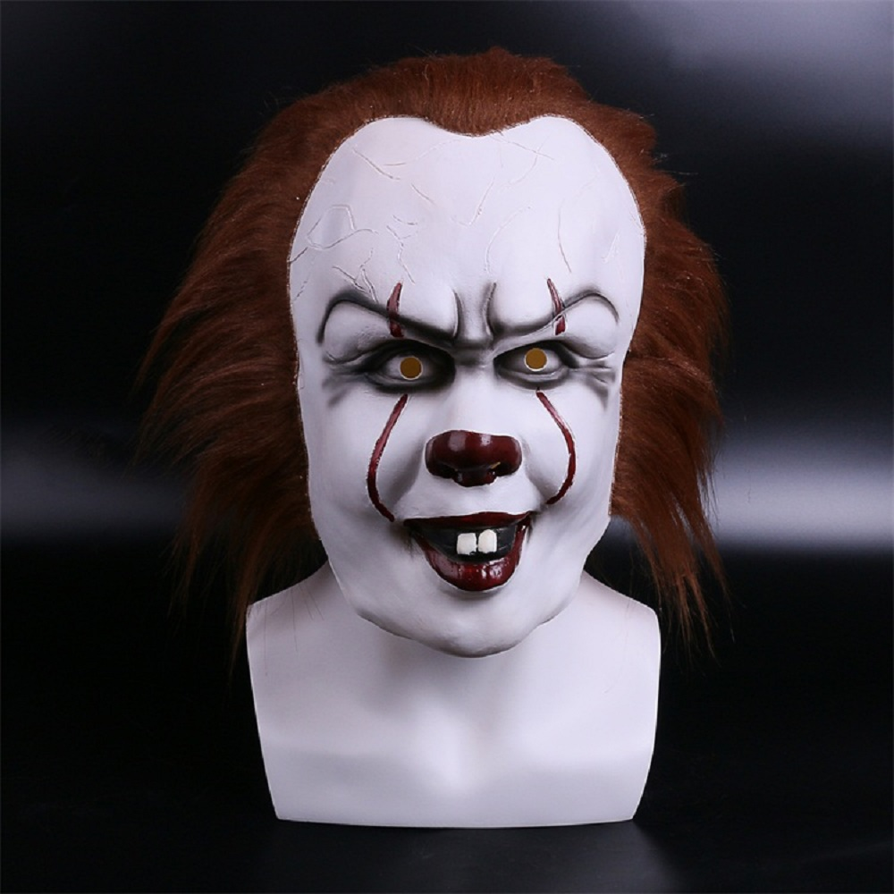 2017 Movie Stephen King's It 2 Joker Pennywise Mask Full Face Horror Clown Latex Halloween Party Hoorible Masks Cosplay Prop