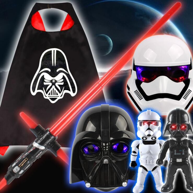 LED Lightsaber Stormtrooper Darth Vader Masks Helmet Star Wars Costume Masquerade Toys Halloween Party Cosplay For Kids Gift