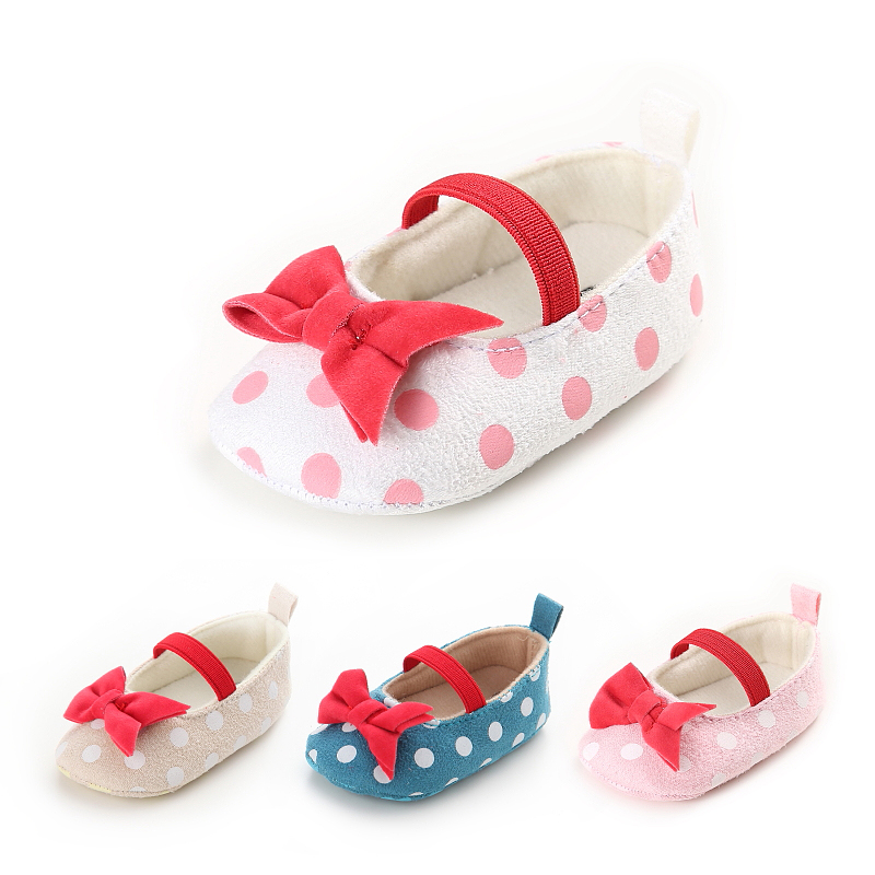 Mother & Kids Frugal Baby Girl First Walker Shoes Newborn Toddler Girl Bowknot Bow Polka Dot Soft Sole Pram Shoes Sapatos Infantil Calzado Ninas Complete In Specifications First Walkers