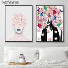 Fashion Wall Art Woman Portrait Print Flowers Poster Bohemian Style Modern Picture for Living Room Home Decor