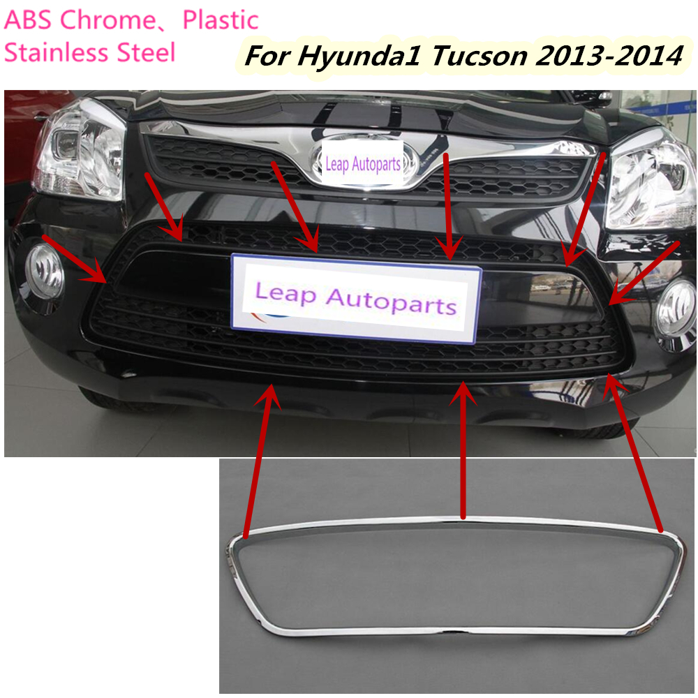 For Hyundai Tucson 2013 2014 Car body cover detector ABS chrome trim Front up racing Grid Grill Grille 1pcs/set free shipping abs chrome front grille around trim racing grills trim for 2013 hyundai santa fe ix45