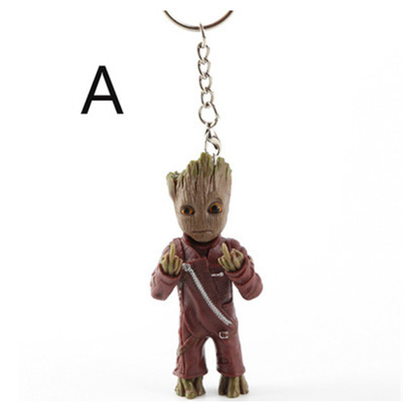 Movie Guardians of the Galaxy Q version Treant Grootted Action figure PVC Doll Ornaments Toys Keychain Key Gifts FOR kids