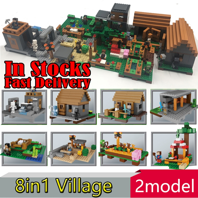 Lepin My World The Village 8 in 1 Minecraft action anime figures Building Blocks Bricks hot toys for children compatible 21128 plants vs zombies garden maze struck game building blocks bricks like figures minecraft toys for children gift b11