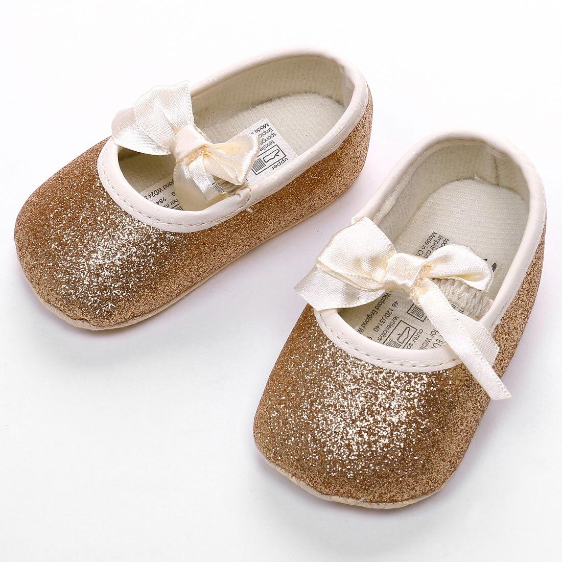 Newborn Kid Baby Girl Soft Sole Bow Crib Shoes Anti-slip Sneaker Prewalker 0-18M