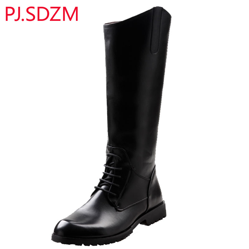 ФОТО PJ.SDZM British Men Fashion High Riding Boots Male Solid Color Long Martin Boots PU Leather Pointed Toe Zipper Boots