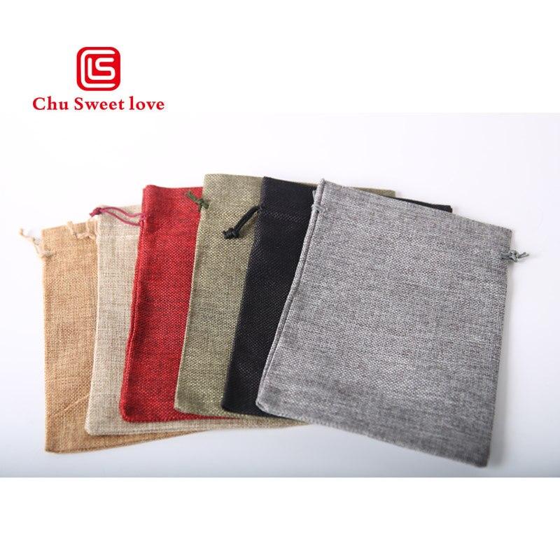 50pcs/Bag High Quality Fashion Linen Hard Frawstring Bag13x18cm Jewelry Bag Wedding Christmas Gift Pouches Bag Multiple Colour