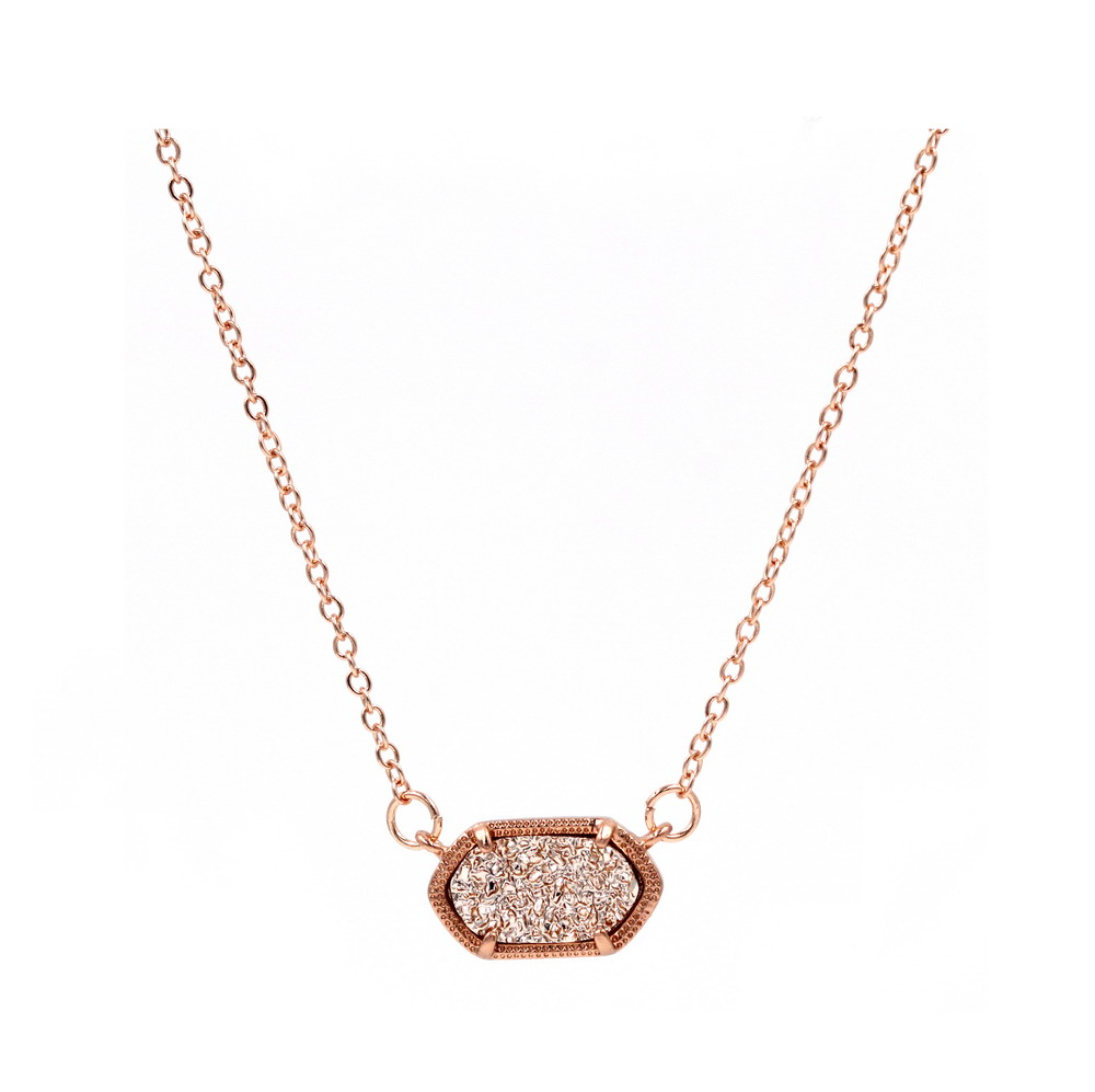 Small size Rose gold Oval Druzy Geometric Pendant Necklace for Women